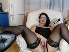 Horny chubby babe having fun with her lush toy on webcam