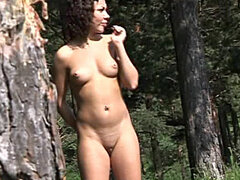 Small tits chick with curves pissing